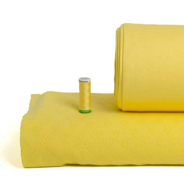 Albstoffe geel GOTS tricot boordstof hartjes weekender collectie
