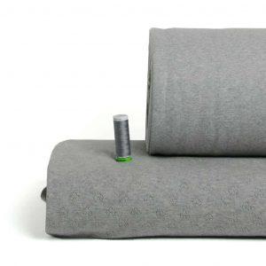 Albstoffe grijs GOTS tricot boordstof hartjes weekender collectie