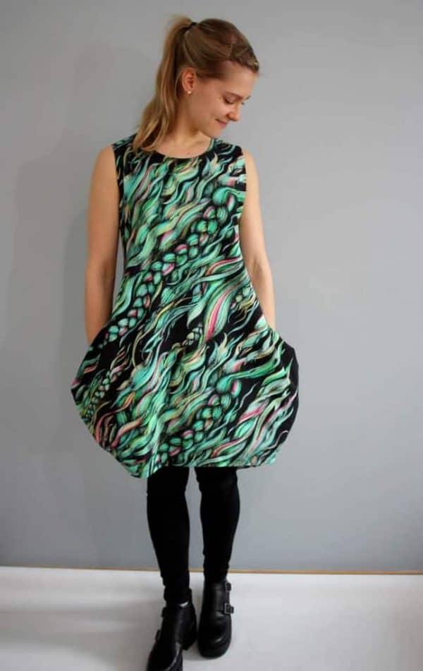 Hellin- vlecht groen/zwart (tricot) coupon 50cm pony braid groen