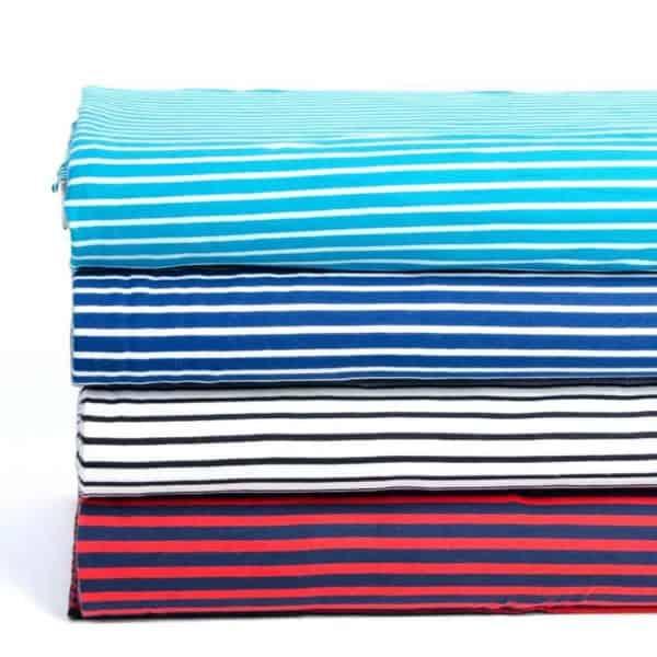 Stoffonkel- Turquoise wit streepjes met blauw Aangepast