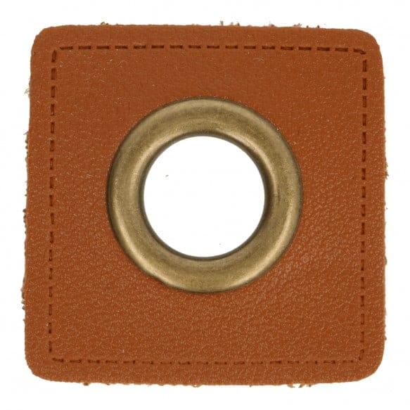 Nestels op Skai-leer 11mm bruin met brons 95809 1 Nestels op Skai leer 11mm bruin met brons