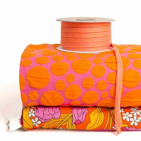 Jacquard jersey Albstoffe Bloom Relief Bubbling, helderroze-oranje