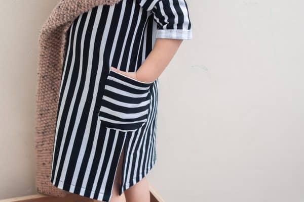 Eva Mouton - Zebra Stripes (French Terry) ada shirt turned dress BW Eva Mouton AW2021 7 van 7 scaled
