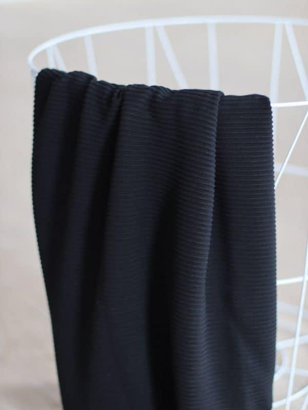 COUPON 75 cm Meet Milk - Self-Stripe Ottoman knit met Ecovero vezels - Black ottoman knit 05