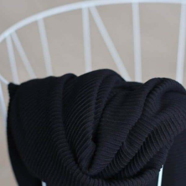 COUPON 75 cm Meet Milk - Self-Stripe Ottoman knit met Ecovero vezels - Black ottoman knit 13 zwart