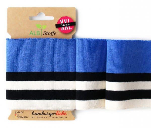 Albstoffe - Boordstof Cuff me (140cm/7,5cm) Blauw wit-paars cuffme87