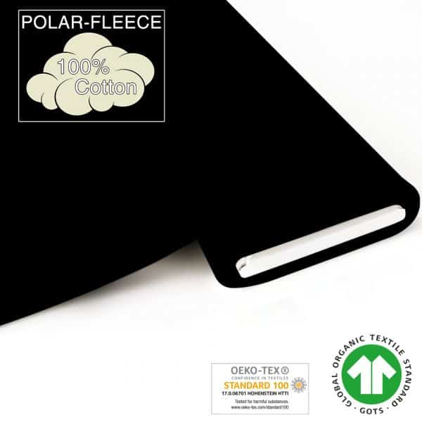 Fabrilogy - Bio Fleece - Zwart (050) fabrilogy gots polar fleece coupon 050 black