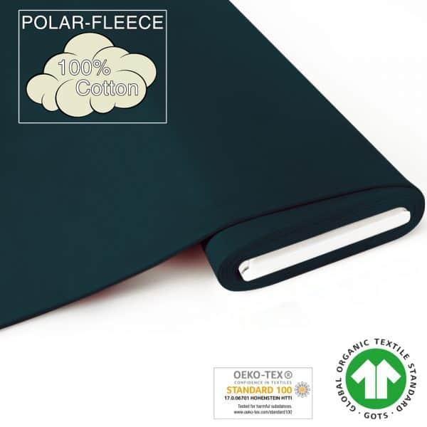 Fabrilogy - Bio Fleece - Donker Petrol (755) fabrilogy gots polar fleece coupon 755 dark petrol blue