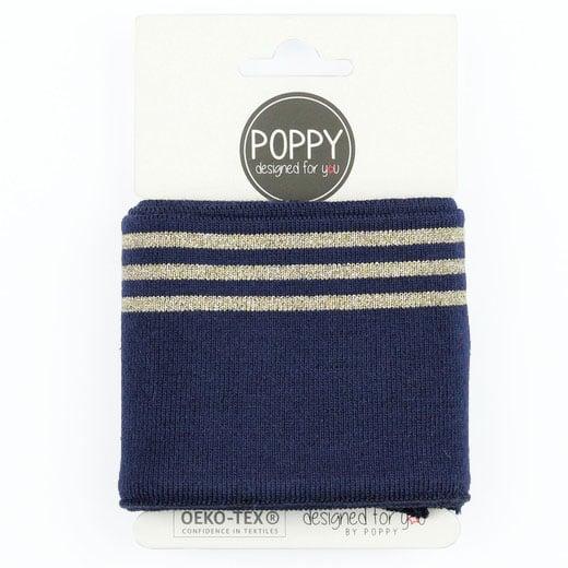 Poppy - Cuffs lurex 7cm - Navy/Gold 06373.002a