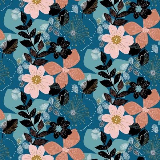 Poppy- Soft sweat - Floral - blauw 08344.005
