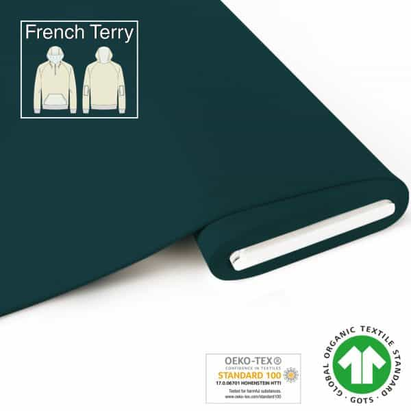 Fabrilogy - French Terry - Donker Petrol (755) fabrilogy gots french terry 755 dark petrol blue