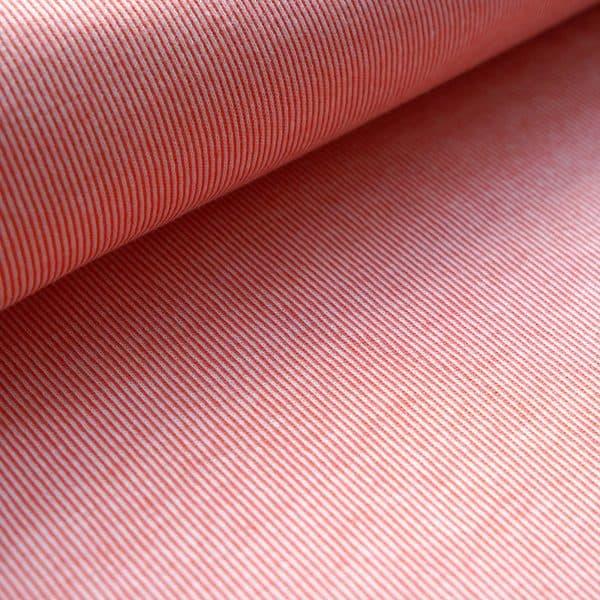 Stoffonkel - Gestreept Jacquard - Coral organic jacquard stripe pattern coral