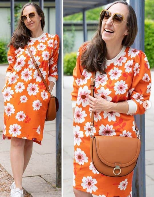 Albstoffe- Bloom Hello luce rosso Bio Jersey HELLO Orange BLOOM Hamburger Liebe ALBSTOFFE Stofftraeume4you Susanne Firmenich Kleid