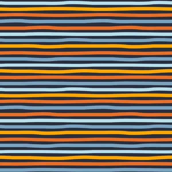 Poppy- Stripes- donker blauw oranje