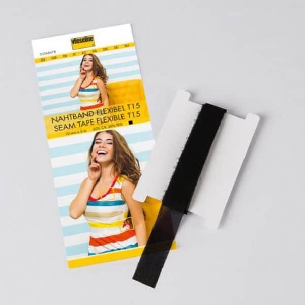 Vlieseline zwart flexibel naadband 10mm breed. 5m lang vlieseline nahtband flexibel t15 schwarz 5356847 0000 2