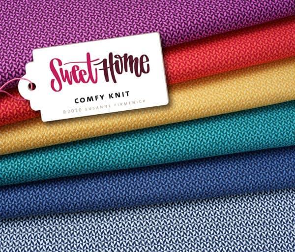 Albstoffe- Sweet Home 3D GOTS – caraibi/verd Sweet Home Comfy Knit L