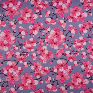 Organic Jersey Stoffonkel Kirschblüten blue (GOTS)