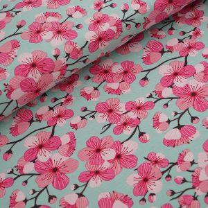 Stoffonkel- Organic Jersey Kirschblüten green (GOTS)