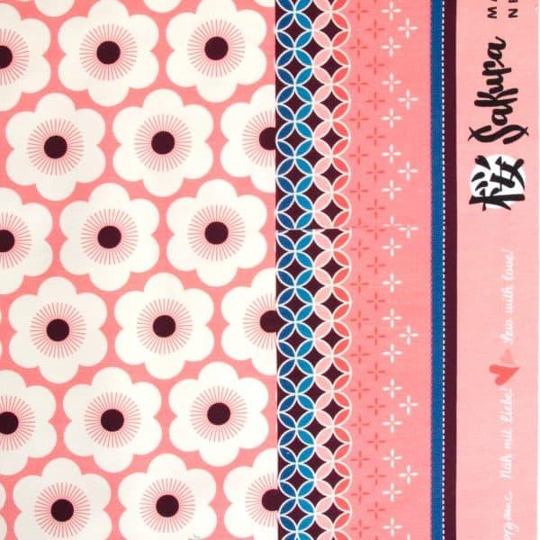 Albstoffe- Sakura Nippon Flowers - Col 4 Pink/Black 20210311 1241 30a