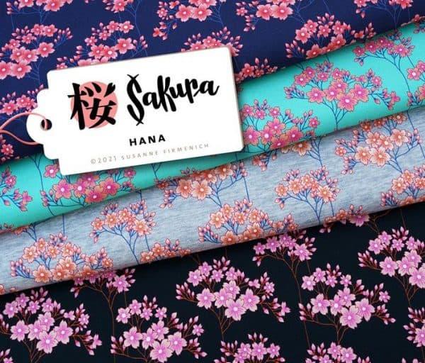 Albstoffe- Sakura Hana - Zwart Bio Sweat Bio Jersey HANA Sakura Hamburger Liebe Albstoffe Stofftraeume4you