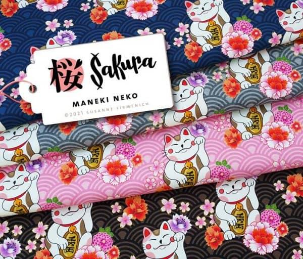 Albstoffe- Sakura Maneki Neko - Roze Bio Sweat Jersey Maneki Neko Sakura Hamburger Liebe Albstoffe Stofftraeume4you