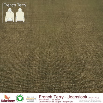 Fabrilogy - Jeanslook (French Terry) moosgrun 2098 fabrilogy gots jeanslook moss green