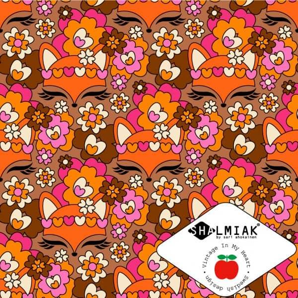 Vintage in my Heart - Foxy Flora Orange/Pink tricot Foxy Flora Orange Pink