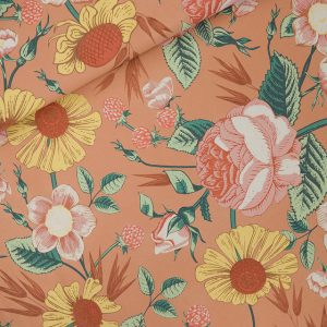Koopjes See You At Six Fabrics Summer 2021 Bloom Garden L Cafe Creme French Terry 01b