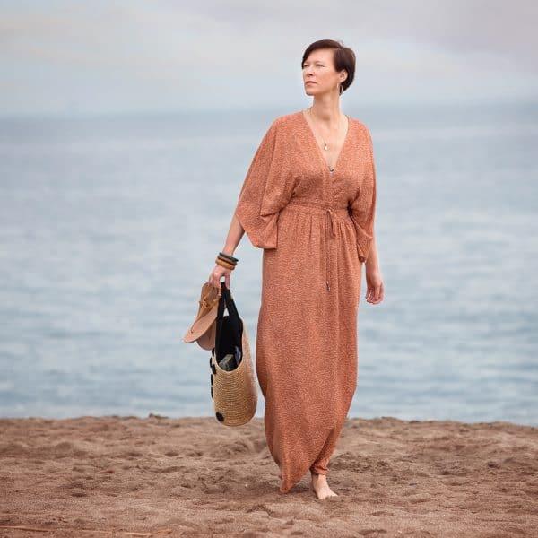 See You At Six - Flecks - M - Viscose Rayon - Amber Brown See You At Six Fabrics Summer 2021 Flecks M Pecan Brown Viscose 22b