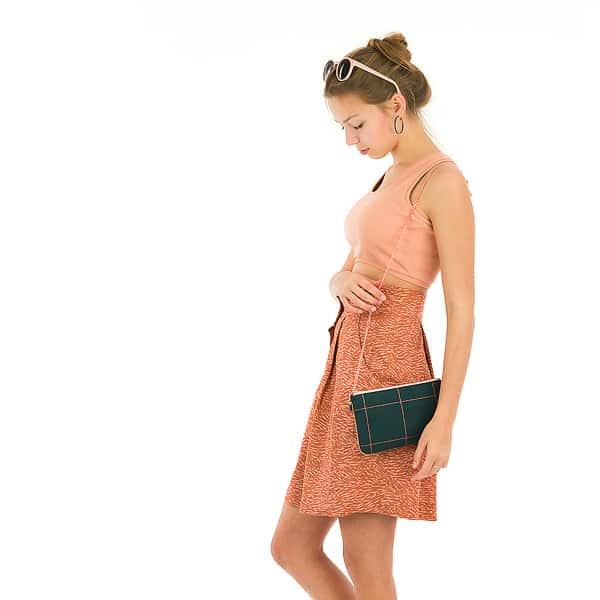 See You At Six - Flecks - M - Viscose Rayon - Amber Brown See You At Six Fabrics Summer 2021 Thin Grid XL Green Gables 40b 1