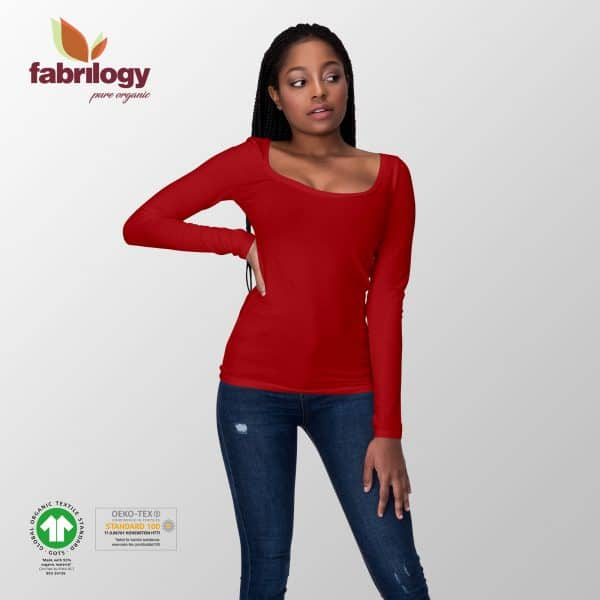 Fabrilogy- kersenrood (405) tricot fabrilogy gots jersey long sleeve female front 01 405