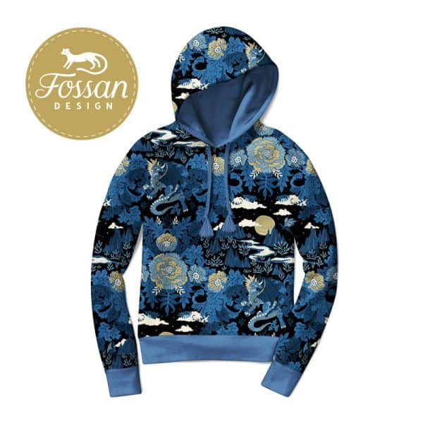 Fossan- French Terry Ancient Dragons Midnight Hoodie Ancient Dragons Night Blue logo