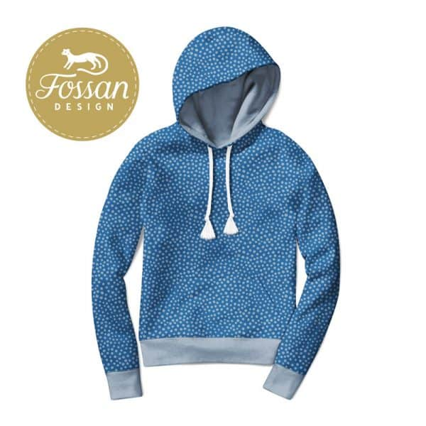 Fossan- French Terry Stone Dots Grey Blue Hoodie Stone Dots Grey Blue logo
