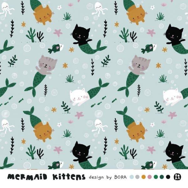 Lillestoff- Mermaids Kittens - French Terry mermaids kittens